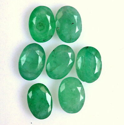 Natural Emerald Oval Cut 7x5 mm Lot 07 Pcs 5.38 Cts Certified Loose Gemstones