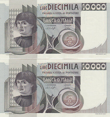2 CONSECUTIVE SERIAL NUMBERED AUNC-UNC 10 000 LIRE FROM ITALY 1976!PICK-106a