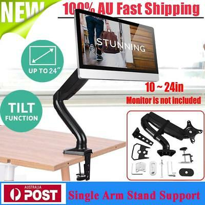 Single Arm Monitor Desk Table Mount Stand/For 10~24in LCD Fully Swivel