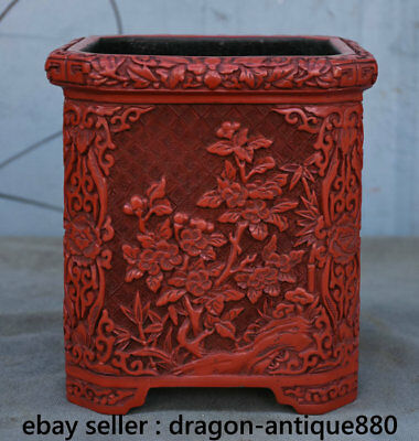 """7.2"""" Qianlong Marked Old China Red Lacquerware Dynasty Brush Pot Pencil Vase"""