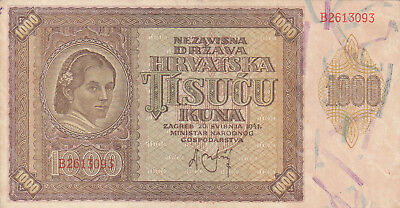 1000 Kuna Very Fine Banknote From Nazi Puppet State Of Croatia 1941!pick-4