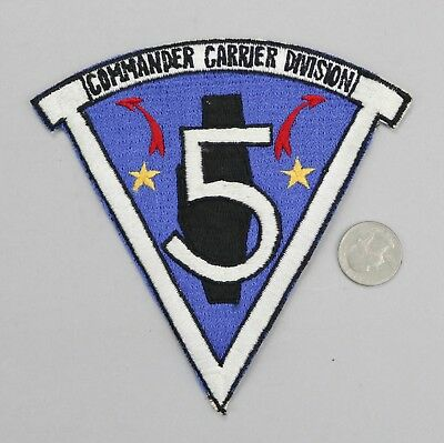 Vietnam US Navy Commander Carrier Division Five 5 Patch Japanese Made • MINT