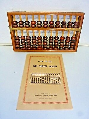 A Vintage Wooden & Brass Chinese Abacus With Instruction Booklet