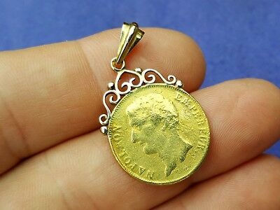 Antique 1804 Emperor Napoleon the 1st Napoleonic Gold Coin Pendant for Necklace