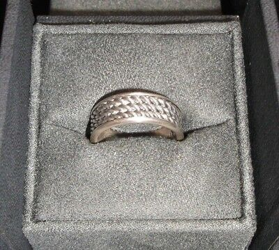 David Yurman Men's 925 Sterling Silver Triple Twisted Cable Wide Band Ring w/Box