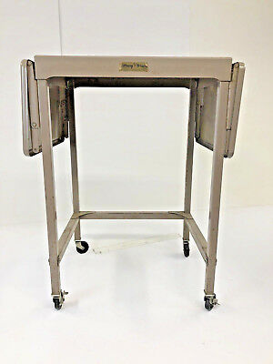 Vintage TYPEWRITER TABLE double drop leaf Stand industrial loft rolling cart 60s