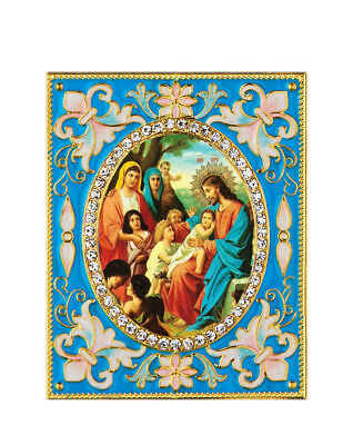 Christ With Children Desk Russian Icon Pendant Blue Frame Christmas Ornament WOW