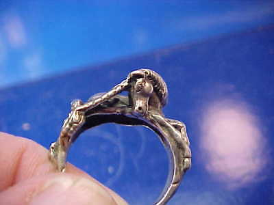 Vintage MEDIEVAL STERLING Silver UNICORN Design HAND CRAFTED RING 9 1/2