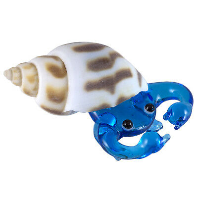 Miniature Hand Blown Glass Light Blue Hermit Crab In Natural Shell Figurine New!