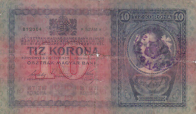10 Korona/kronen Vg+ Note1918 With A Stamp From Shs Kingdom/croatia