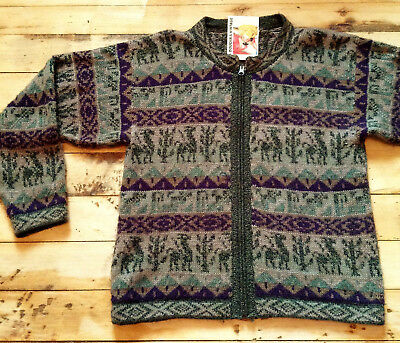 Lovely Woman Hand Knit Sweater Cardigan - Fair Isle Alpaca Wool From Peru - S