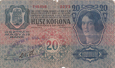 20 Korona/kronen Vg Note1918 With A Stamp From Shs Kingdom's Military!!!