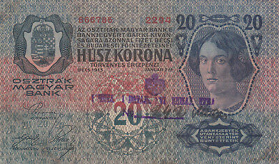 20 Korona/kronen Very Fine Note1918 With A Stamp From Shs Kingdom's Military!!!!