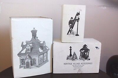 Dept 56 Dickens Heritage Village Wheat Cakes Puddings Lamplighter Well Lot of 3