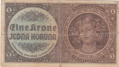 1 Koruna Vg Banknote From Bohemia-Moravia 1940!nazi Occupation Issue!pick-3