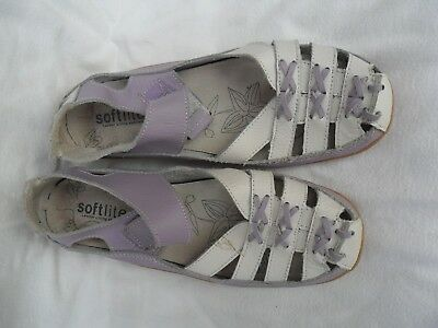 Softlites,ladies Size Uk7/eu 40,white/lilac Leather Comfort Shoes
