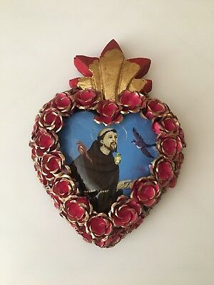 Wooden Sacred Heart with St. Francis - Mexican Folk Art