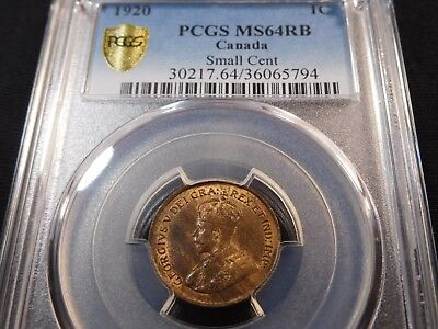 Z32 Canada 1920 Small Cent PCGS MS-64 Red Brown