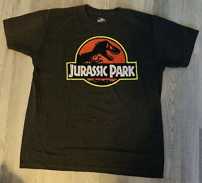 Men's Jurassic Park Logo Vintage Graphic Tee Shirt T-Shirt Large