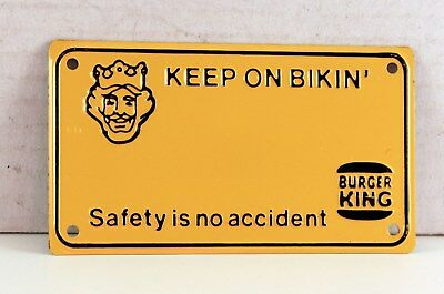 "Burger King Advertising Bicycle License Plate 4"" X 2 1/4"" New"