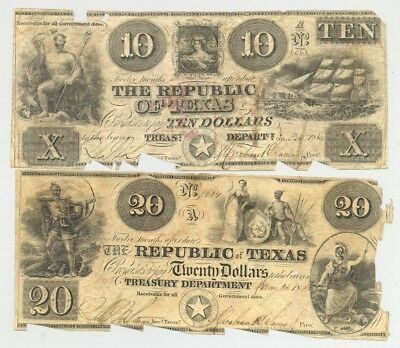1840 $10, $20 bills issued by the Republic of Texas and signed by Mirabeau Lamar