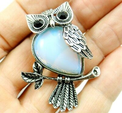 Opalite beads Gem animal Owl Archaize silver Pendant necklace making Jewelry