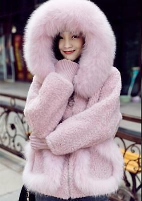 hot Womens Girls Faux Fur Hoodie Parka Winter Jacket Shaggy Fleece Warm Outwear