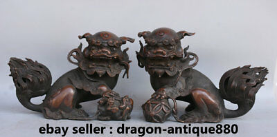 "11"" Old Chinese Bronze Feng Shui Foo Fu Dog Guardion Lion Ball Son Statue Pair"