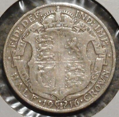 British Silver Half Crown - 1916 - King George V - $1 Unlimited Shipping