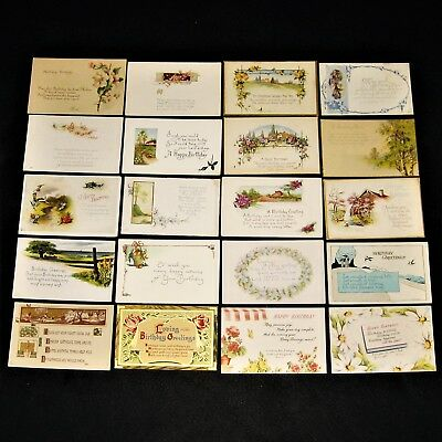 Lot of 20 Vintage & Antique Postcards unposted ~ BIRTHDAY ~ Flowers & Poems