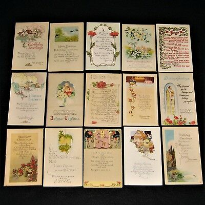 Lot of 15 Vintage & Antique Postcards unposted ~ BIRTHDAY ~ Flowers & Poems