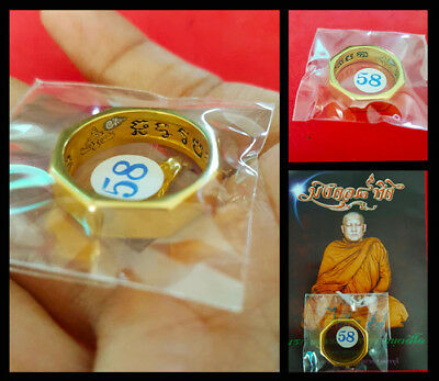 Thai Amulet Charming Ring Rahu Mongkol 8 Talisman fortune Lucky Rich LP Lek 2559