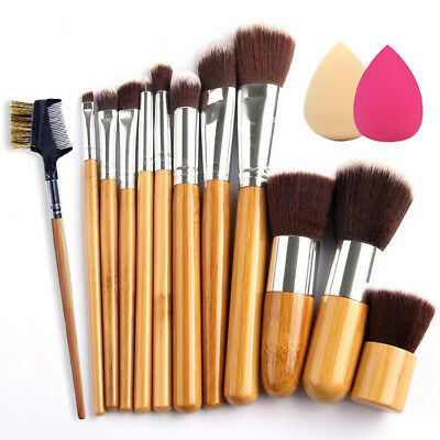 12Pcs Bamboo Handle Makeup Brushes Powder Foundation Eyeshadow Lip Brush Set