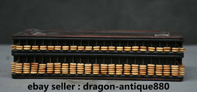 """8"""" Old Chinese Wood Dynasty Hand Carving Bead Counting Frame Abaci Abacus Base"""