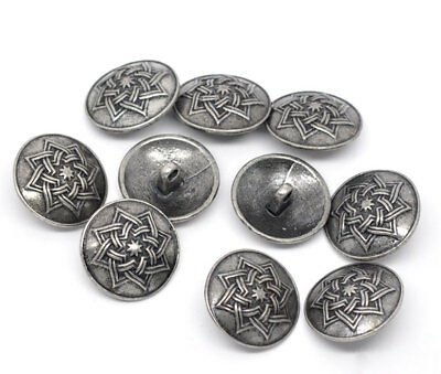 30 PCs Zinc Based Alloy Metal Sewing Shank Buttons Antique Silver Flower Carved