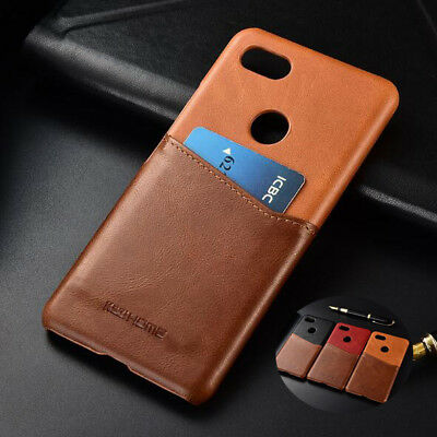 For Google Pixel 3/XL 2 Genuine Leather Card Slot Color Business Hard Case Cover