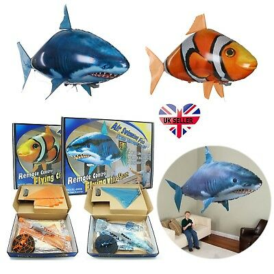 Remote Control Flying Shark Fish RC Radio Air Swimmer Inflatable Blimp Xmas Gift