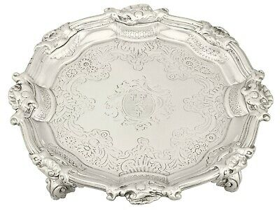 Antique George II 1740s Sterling Silver Waiter