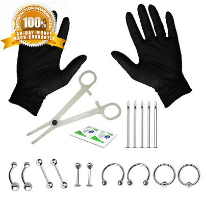 BodyJ4You 10-20PC Professional Piercing Kit BCR Labret Belly Nipple Lip Nose...