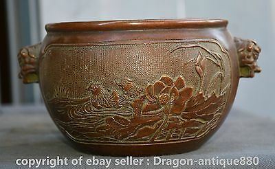 "9"" Xuande Marked Old Chinese Purple Bronze Dynasty Lion Head Pot Crock Censer"