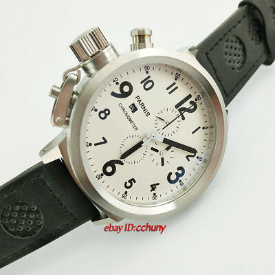 50mm Parnis Chronograph Watch 0S10 Quartz Wristwatch Russian Military Style E58