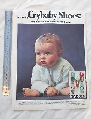 Paddle Crybaby Shoes Full Page Advertisement from a 1969 Magazine Baby Shoe
