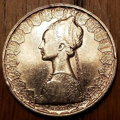 Italy 500 Lire 1958, very fine silver world coin, featuring Columbus's ships