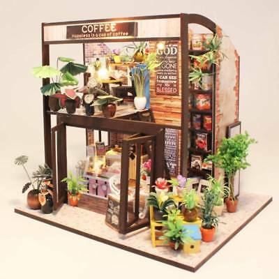 Wooden Doll House Miniature Music LED Lights gift decoration Caravan Practical