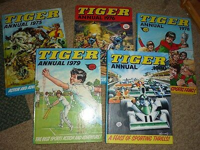 5 Tiger Annuals 1975 1976 1978 1979 1980 ALL UNCLIPPED ALL IN AMAZING CONDITION