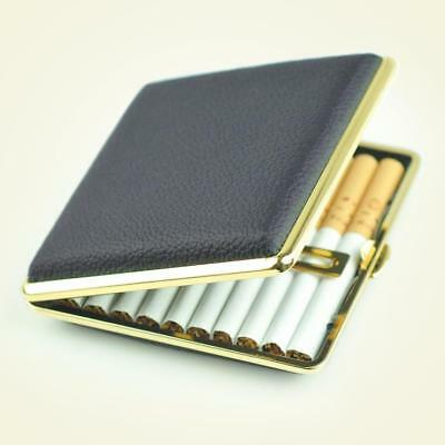 SAN Metal Black Leather Tobacco Pocket 20 Cigarette Case Smoke Holder Box