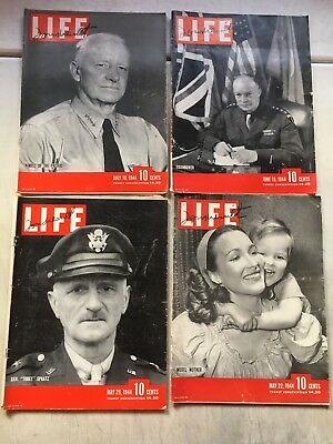 Vintage 1944 War Time LIFE Magazine Lot of 16 GOOD CONDITION!