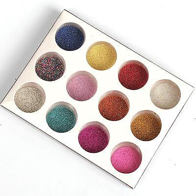 12 Pcs Mix Colors Micro Beads Caviar Set for Nail Art Tips Decoration