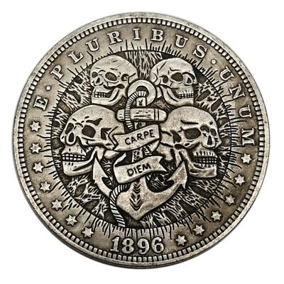 US Four Skull HOBO Nickel Silver Novelty Morgan  Dollar COIN