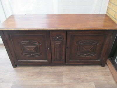 Large Oak Coffer Blanket Chest  Carved Panel Doors Antique Furniture Delivery